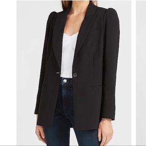 NWT Puff Shoulder Black Long Blazer, large